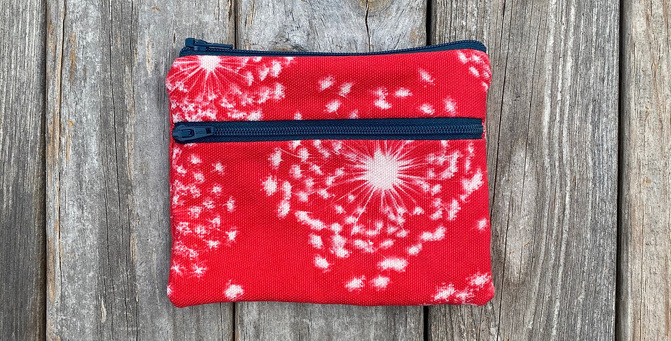 Large Double Zipper Pouch in Red with Queen Anne's Lace Design