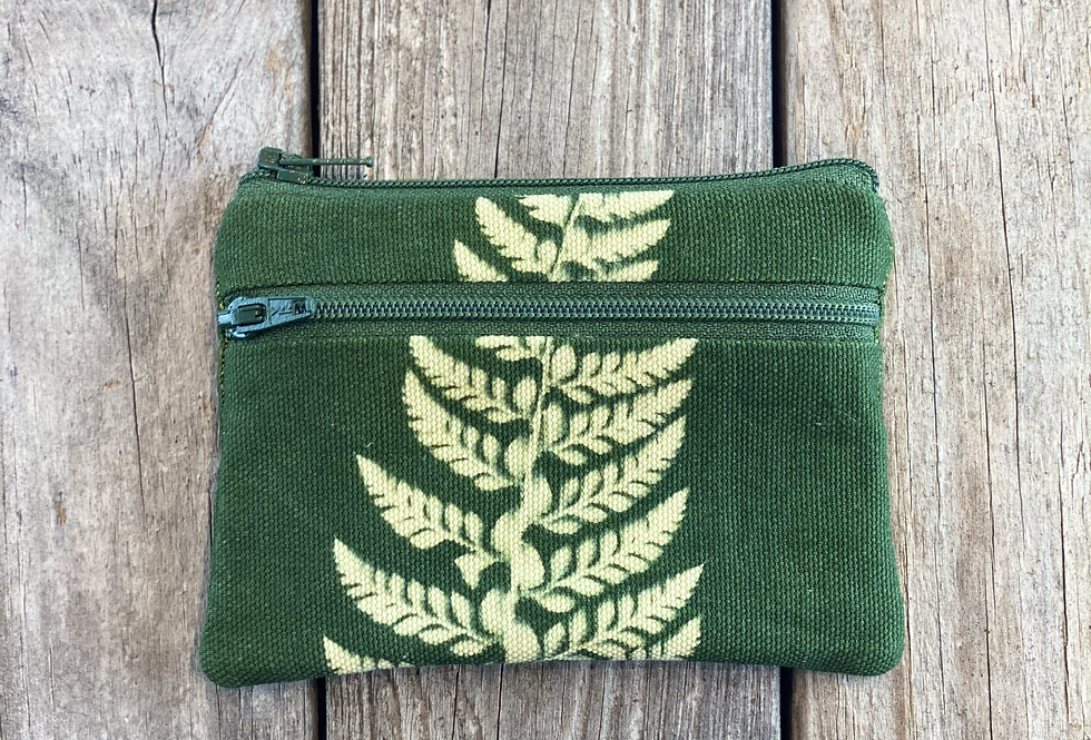 Small Double Zipper Pouch in Green with Shield Fern Design
