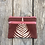 Thumbnail: Small Double Zipper Pouch in Brown with Sword Fern Design