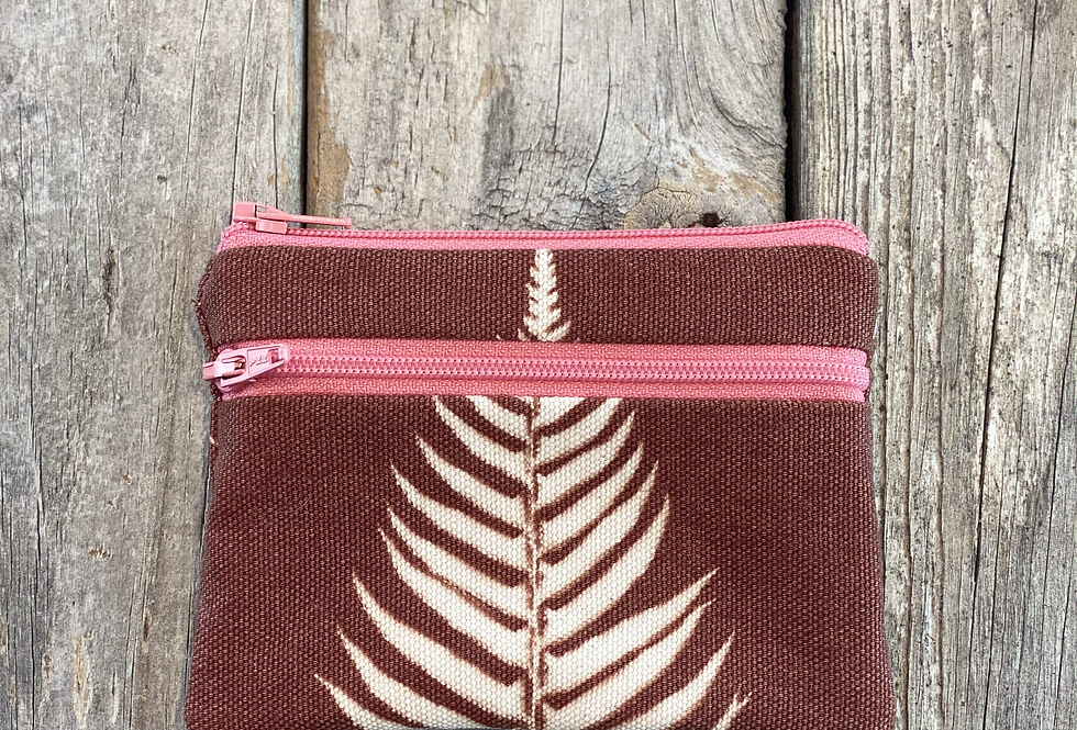 Small Double Zipper Pouch in Brown with Sword Fern Design