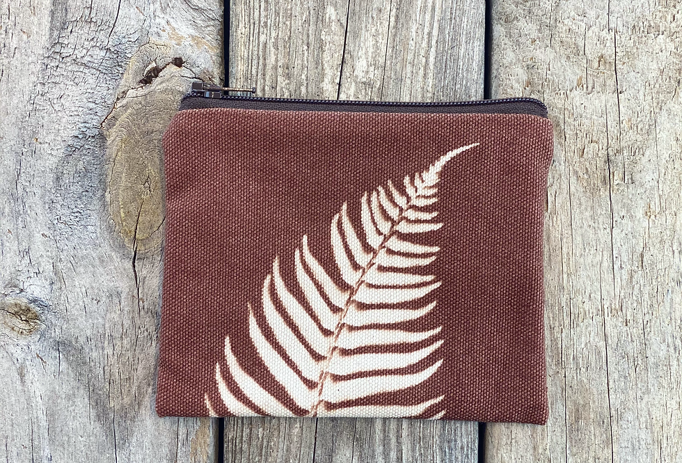 Small Zipper Pouch in Brown with Sword Fern Design