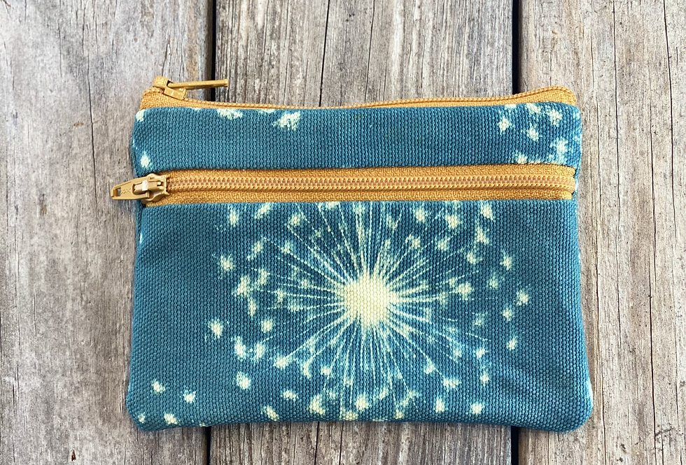 Small Double Zipper Pouch in Sky Blue with Queen Anne's Lace Flower Design
