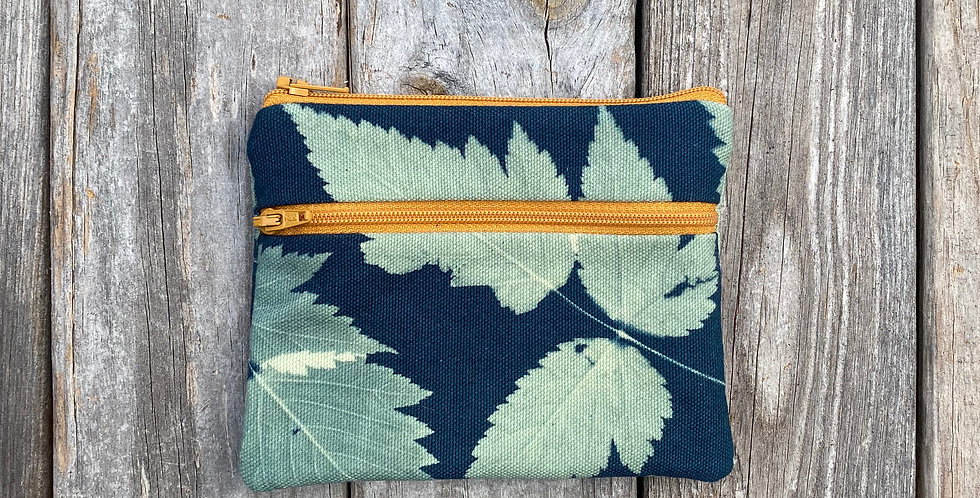 Large Double Zipper Pouch in Teal with Salmonberry Leaf Design
