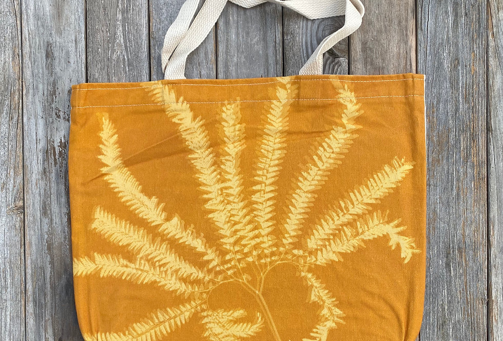 Tote Bag in Amber with Western Maidenhair Fern Design