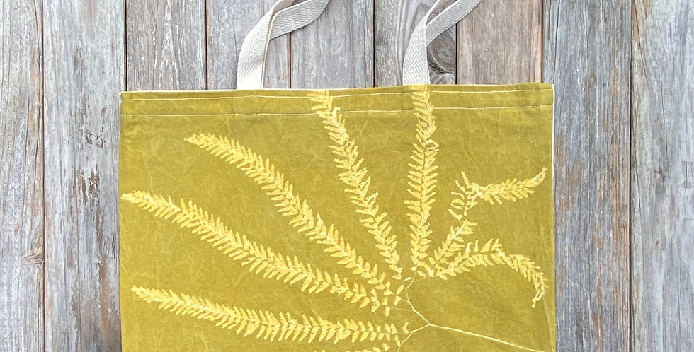 Tote Bag in Avocado Green with Western Maidenhair Fern Design