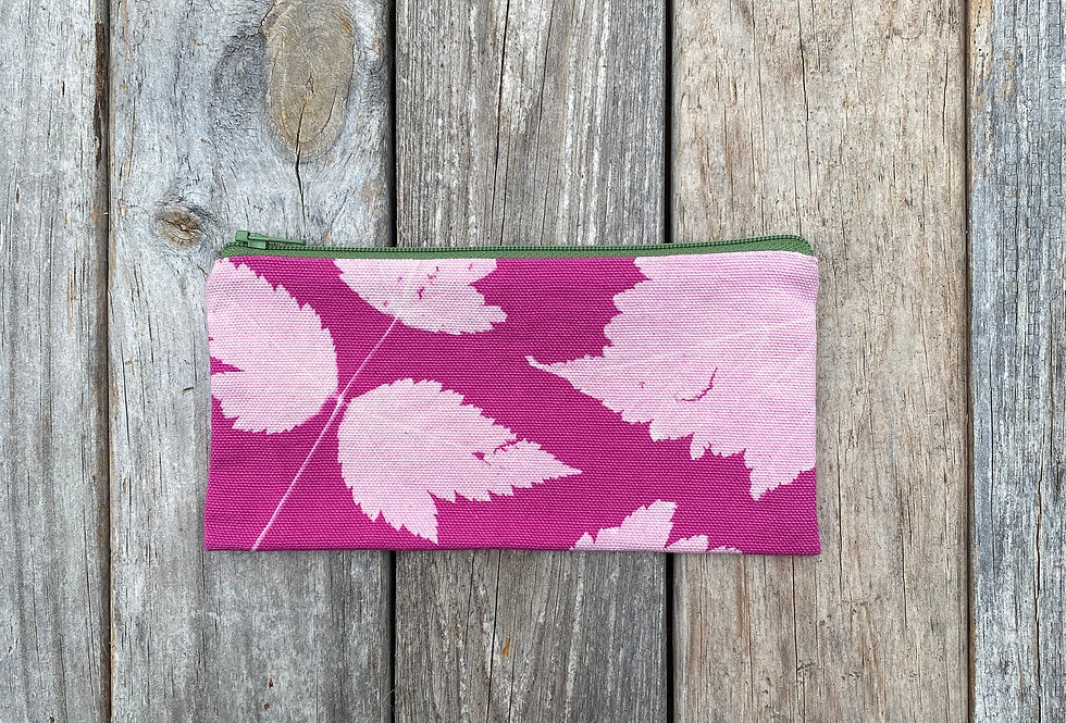 Long Zipper Pouch in Fuchsia Pink with Salmonberry Leaf Design