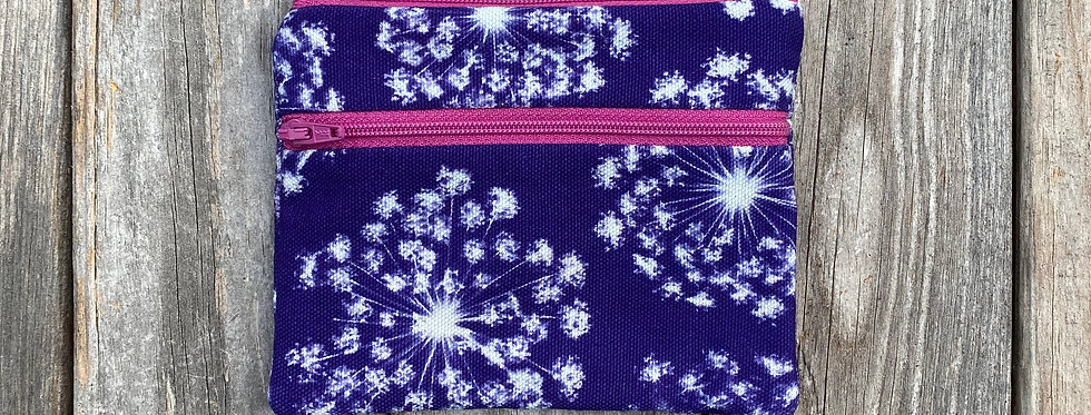 Large Double Zipper Pouch in Purple with Queen Anne's Lace Design