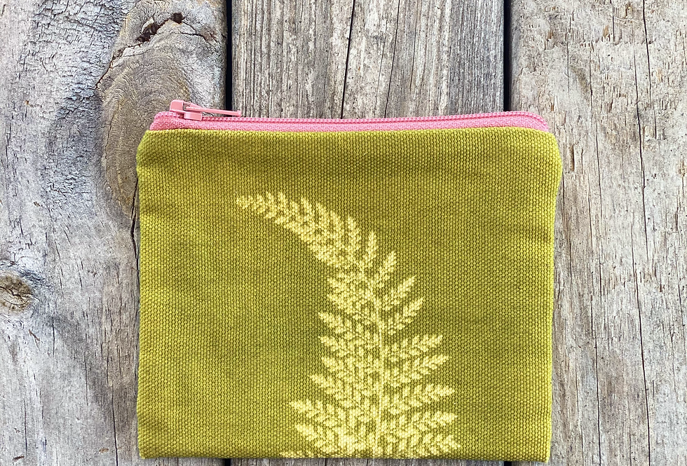 Small Zipper Pouch in Chartreuse Green with Alaskan Fern Design