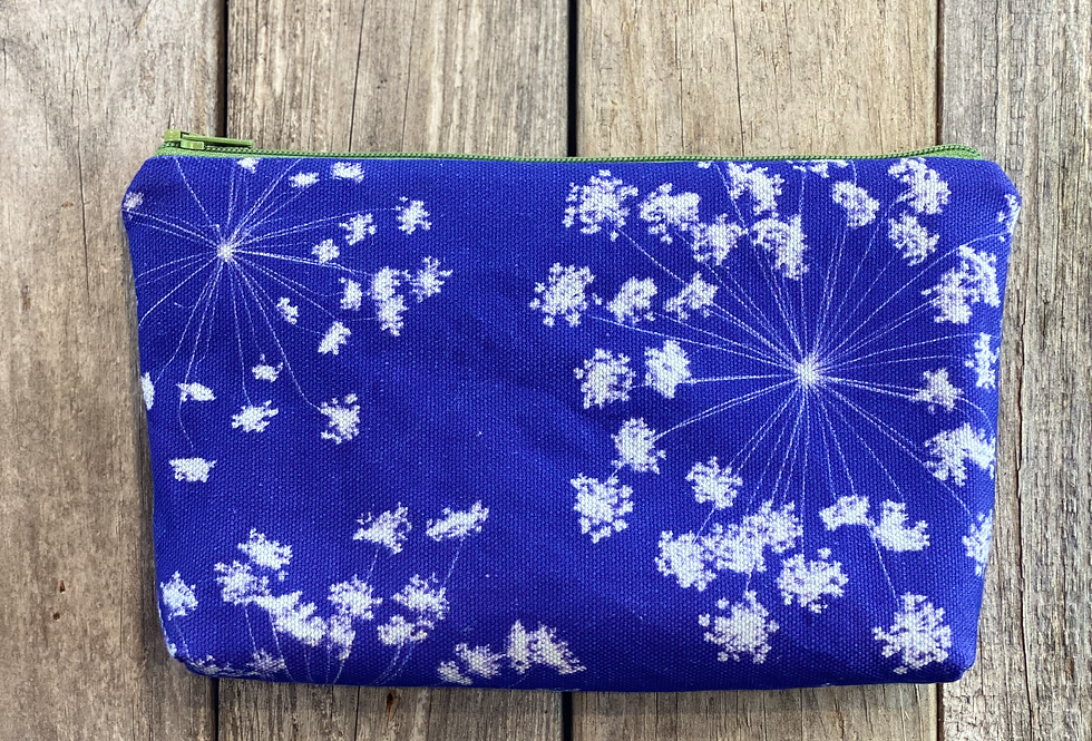 Cosmetics Pouch in Purple with Queen Anne's Lace Flower Design