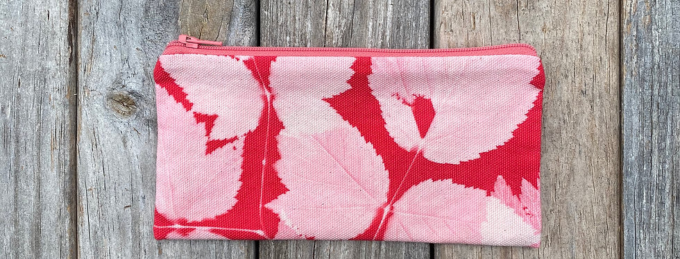 Long Zipper Pouch in Red with Salmonberry Leaf Design