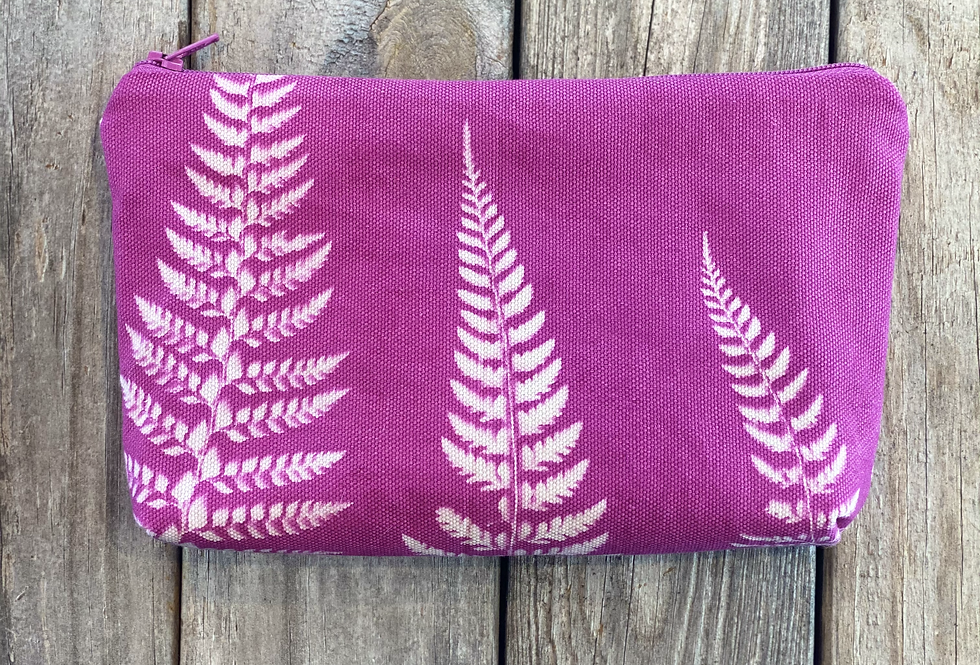 Cosmetics Pouch in Fuchsia Pink with Shield Fern Design