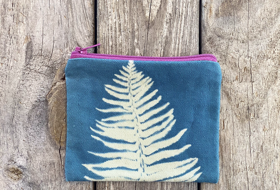 Small Zipper Pouch in Sky Blue with Sword Fern Design