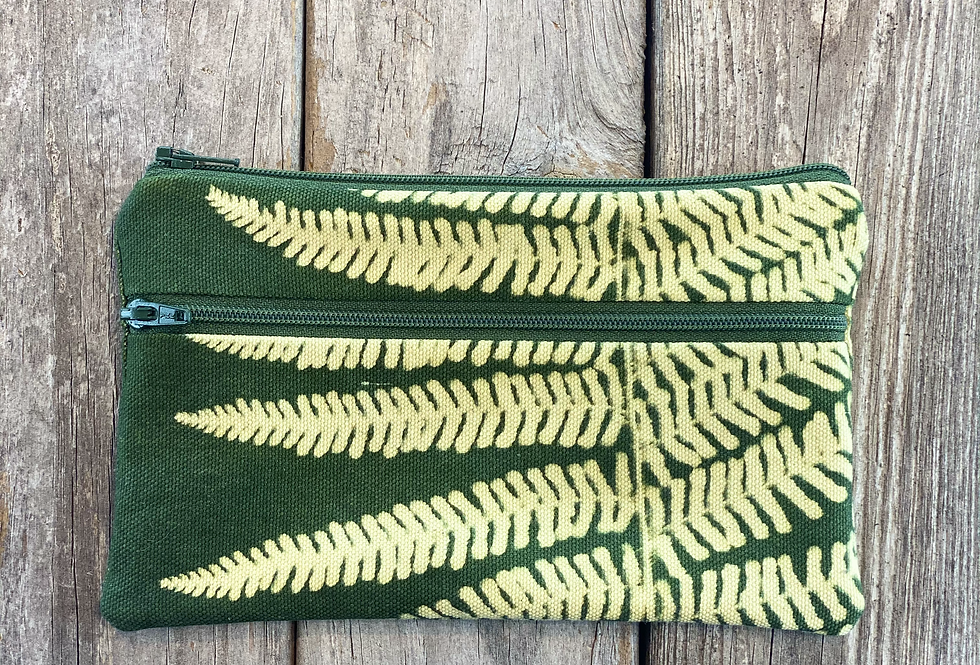 Long Double Zipper Pouch in Green with Lady Fern Design