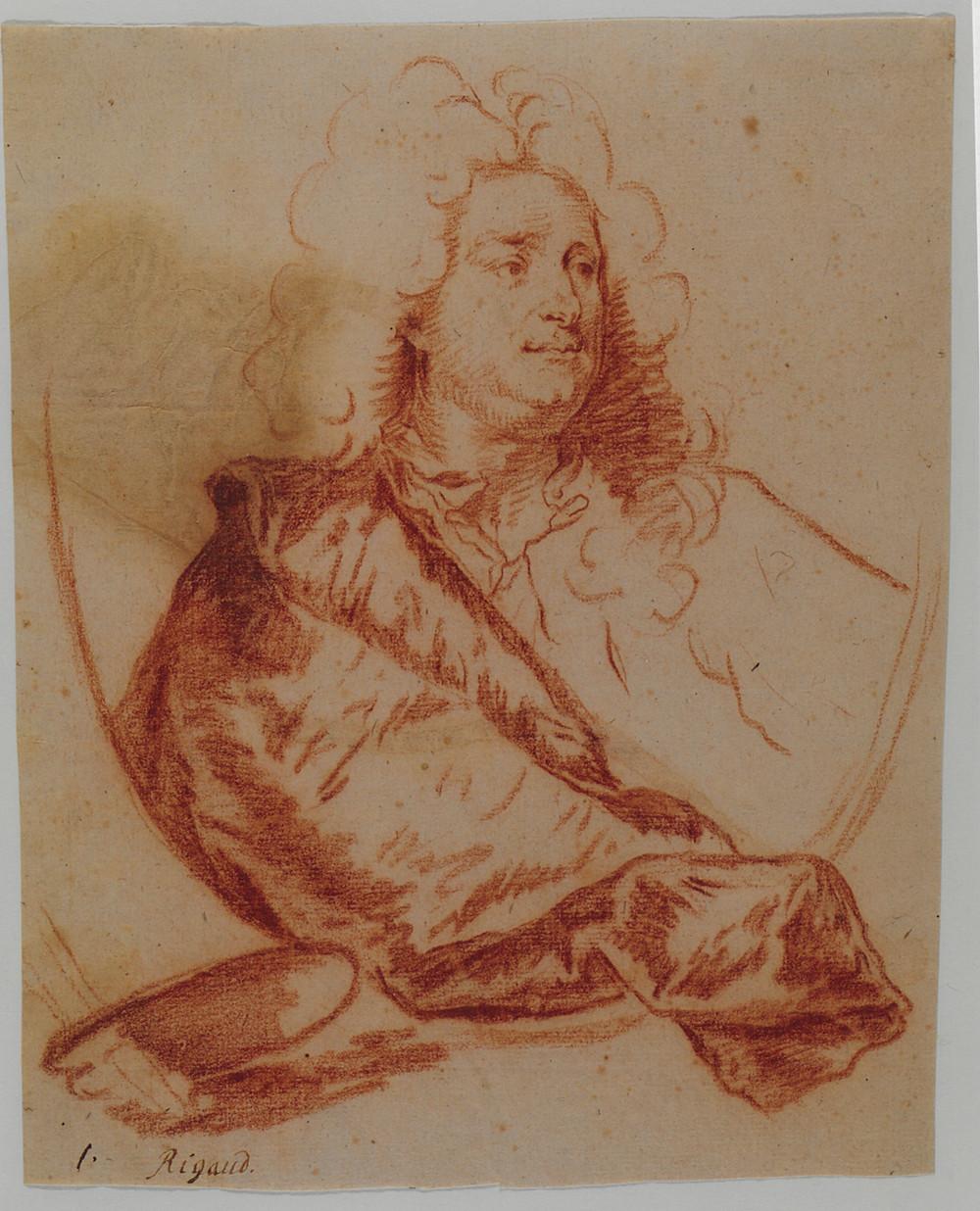 Hyacinthe Rigaud, Charles de La Fosse, sanguine, Stuttgart, Staatsgalerie, Graphische Sammlung, inv. C 1 888