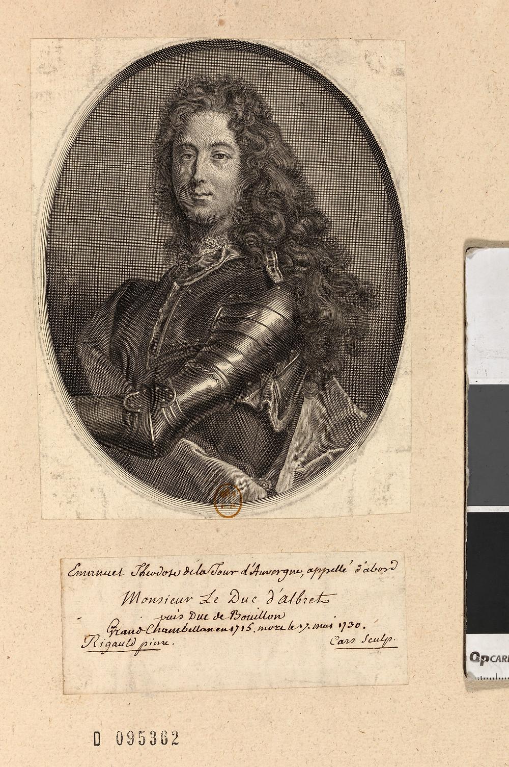 Jean François Cars d'après Hyacinthe Rigaud, Portrait d'Emmanuel Théodose de La Tour d'Auvergne, duc d'Albret, vers 1730, Paris, BnF, département des Estampes et de la photographie, N2