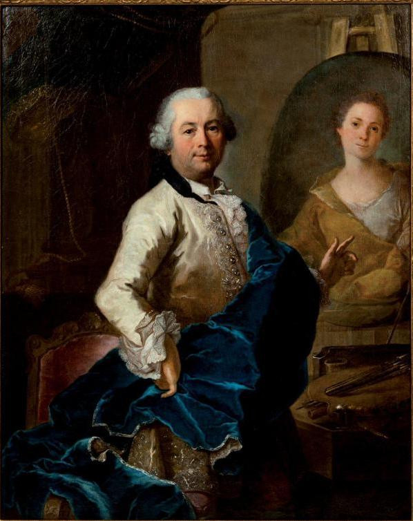 Joachim Rupalley, Autoportrait de l'artiste en train de peindre le portrait de son épouse Angélique Louise Hélène Dessaulx, 1765, collection particulière