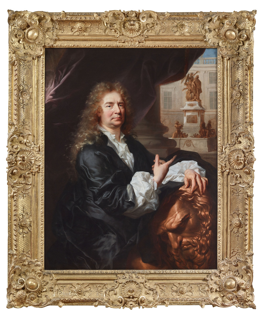 Hyacinthe Rigaud, Portrait du sculpteurMartin van den Bogaert dit Desjardins, vers 1686, avec son cadre actuel, Paris, Galerie Didier Aaron