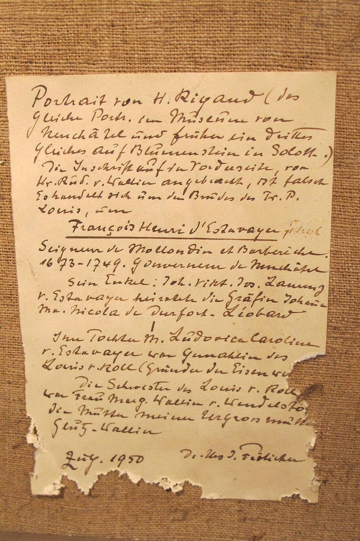 Anonyme d'après Hyacinthe Rigaud, Portrait de François Henri d'Estavayer-Mollondin (dos), après 1705, collection particulière