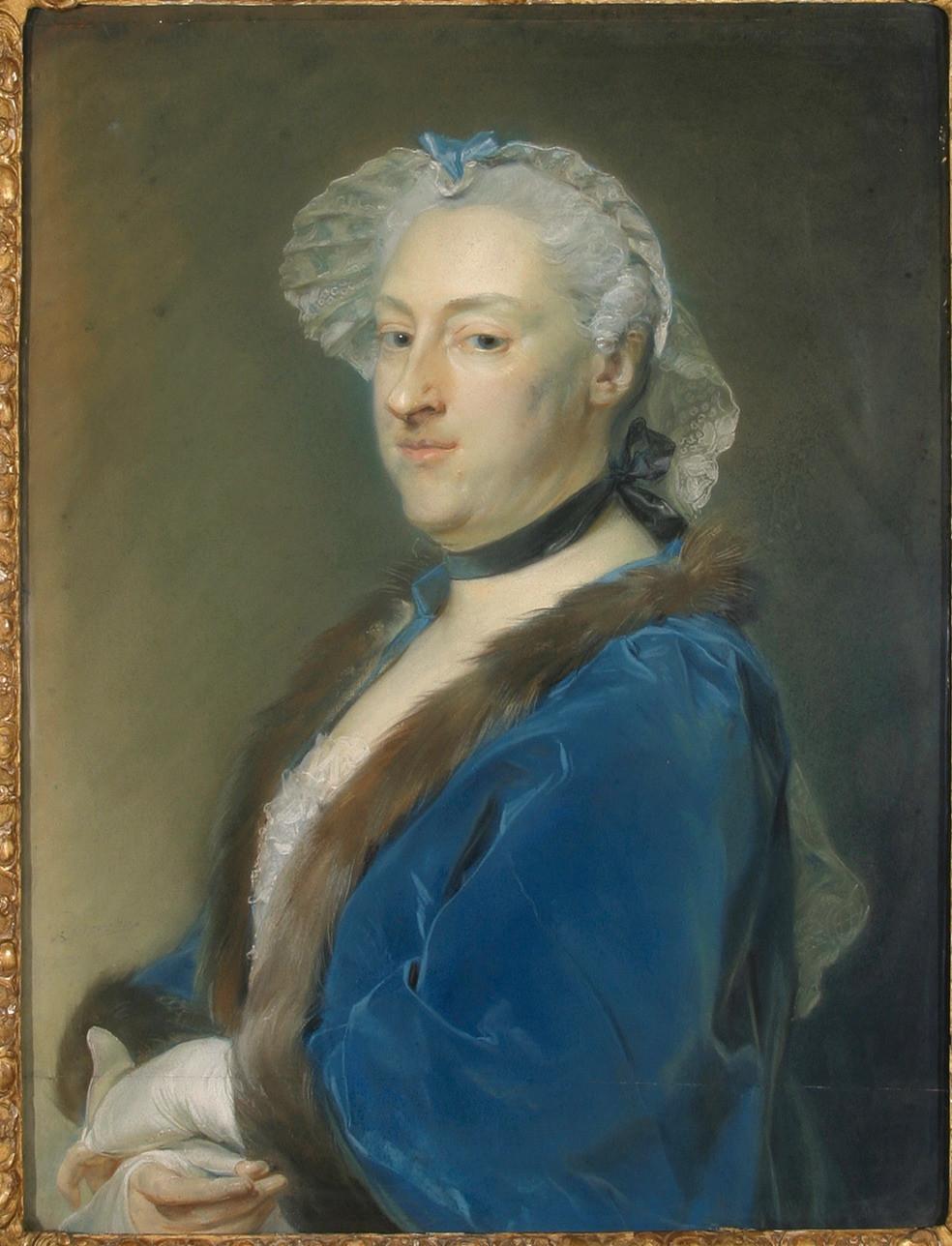 Jean-Baptiste Perronneau, Portrait de Mme Lafontaine, 1750, collection particulière