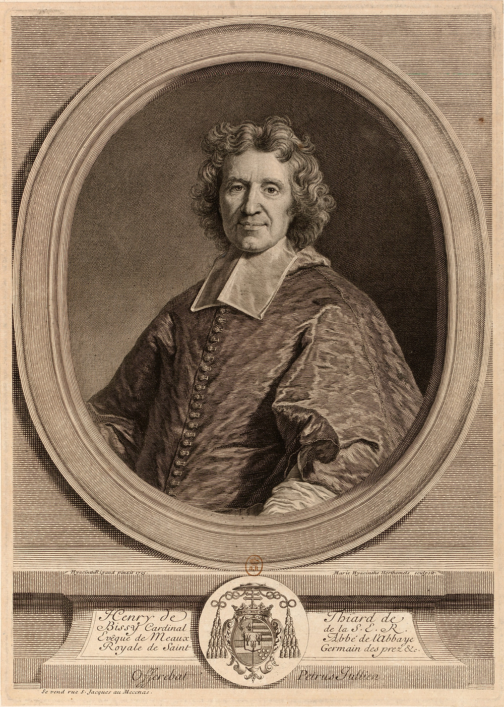Marie Anne Hyacinthe Horthemels d'après Hyacinthe Rigaud, Portrait du cardinal de Bissy, 1716, Paris, Bibliothèque nationale de France, département des Estampes et de la photographie, Da. 62 fol. 72