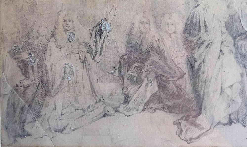 Nicolas de Largillierre ?, Etude pour l'Ex-voto à sainte Geneviève (détail), 1695, collection particulière