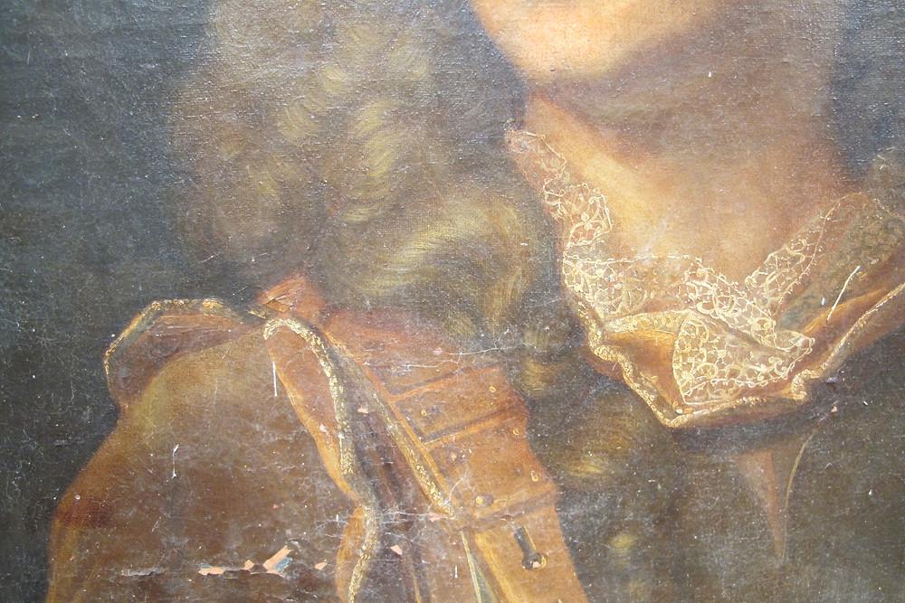 Anonyme d'après Hyacinthe Rigaud, Portrait de François Henri d'Estavayer-Mollondin (détail), après 1705, collection particulière