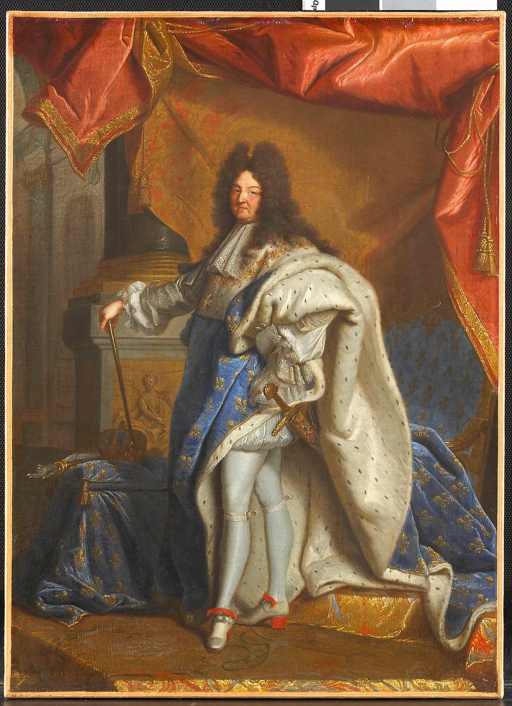 D'après Hyacinthe Rigaud, Portrait de Louis XIV en grand costume royal, après 1702, Chantilly, musée Condé, inv. PE 335