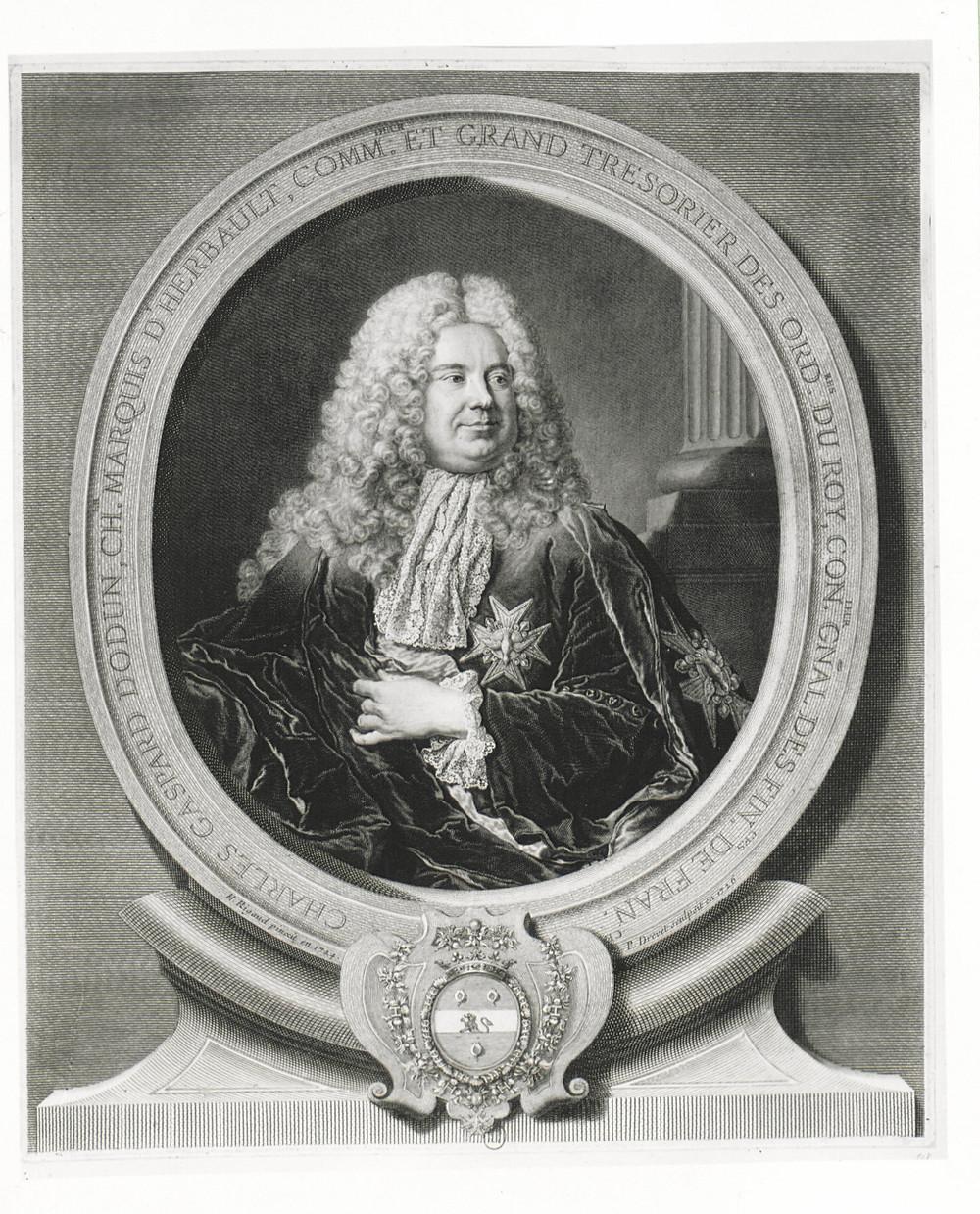 Pierre Drevet et Pierre Imbert Drevet d'après Hyacinthe Rigaud, Portrait de Charles Gaspard Dodun, marquis d'Herbault, 1726, Paris, BnF, département des Estampes et de la photographie, inv.Da. 63 fol. 170