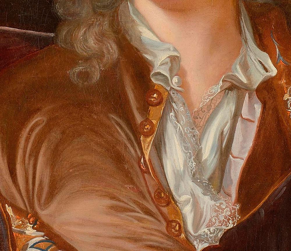 Anonyme d'après Hyacinthe Rigaud, Portrait d'un homme (détails), après1715-1722,collection particulière