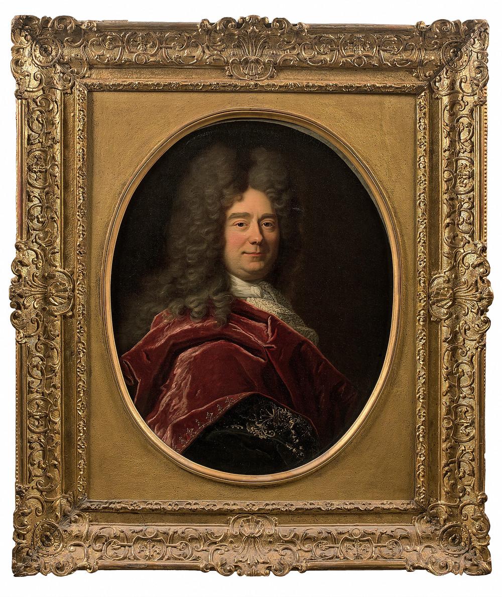 Hyacinthe Rigaud, Portrait de François Bégon, 1695, avec son cadre, collection particulière