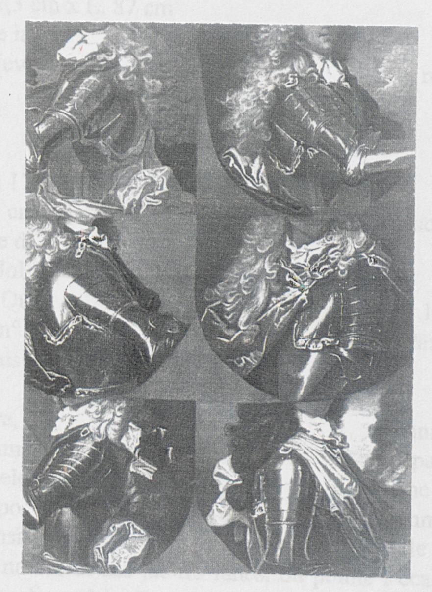Atelier de Hyacinthe Rigaud, Étude de six bustes en cuirasse, vers 1690-1705, collection particulière