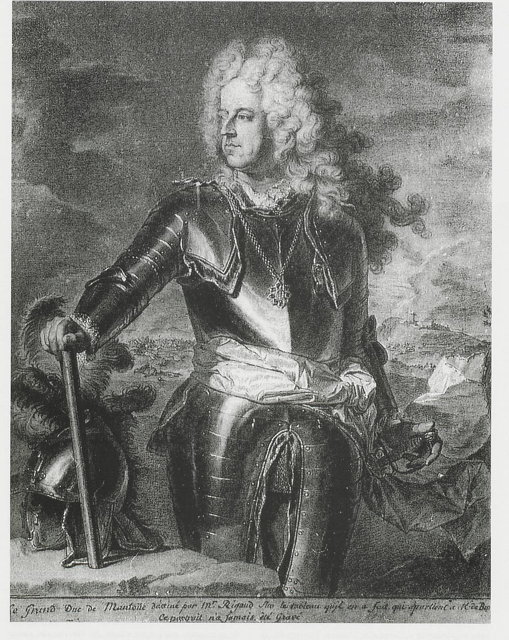 Hyacinthe Rigaud et B. Monmorency, Portrait du duc de Mantoue, 1708, collection particulière