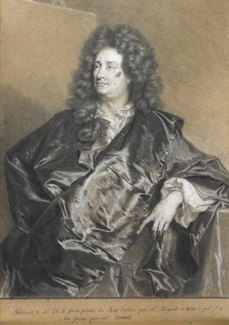 Le dessin d'après le second portrait de Charles de La Fosse par Hyacinthe Rigaud et son atelier