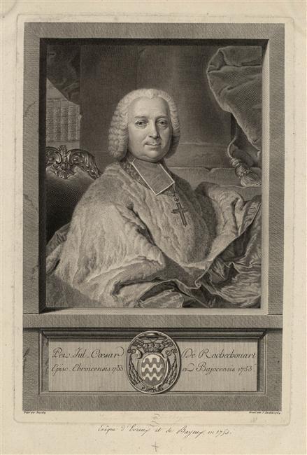 Jacques Nicolas Tardieu d'après Joachim Rupalley, Portrait de Pierre Jules César de Rochechouart-Montigny, évêque de Bayeux, 1764, Versailles, musée national du château et des Trianons