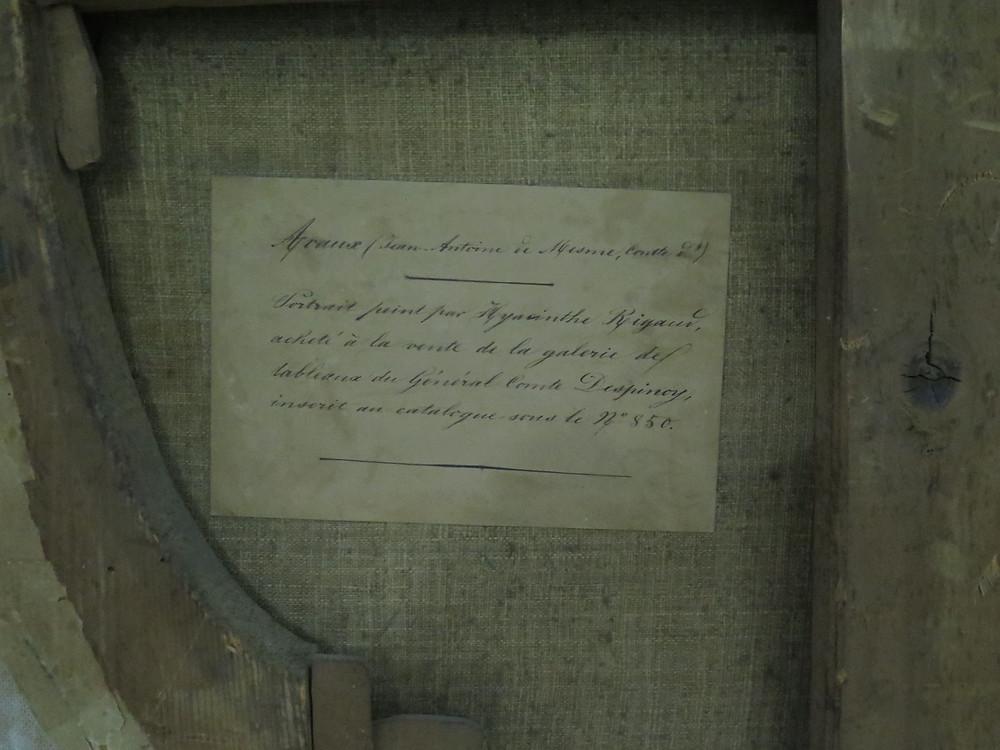 Étiquette ancienne apposée au dos du Portrait de Jean Antoine II de Mesmes