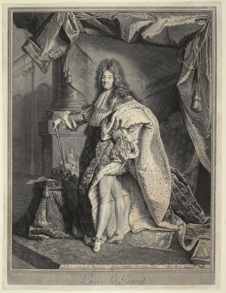 Pierre Drevet d'après Hyacinthe Rigaud, Portrait de Louis XIV en grand costume royal, 1712, Paris, BnF