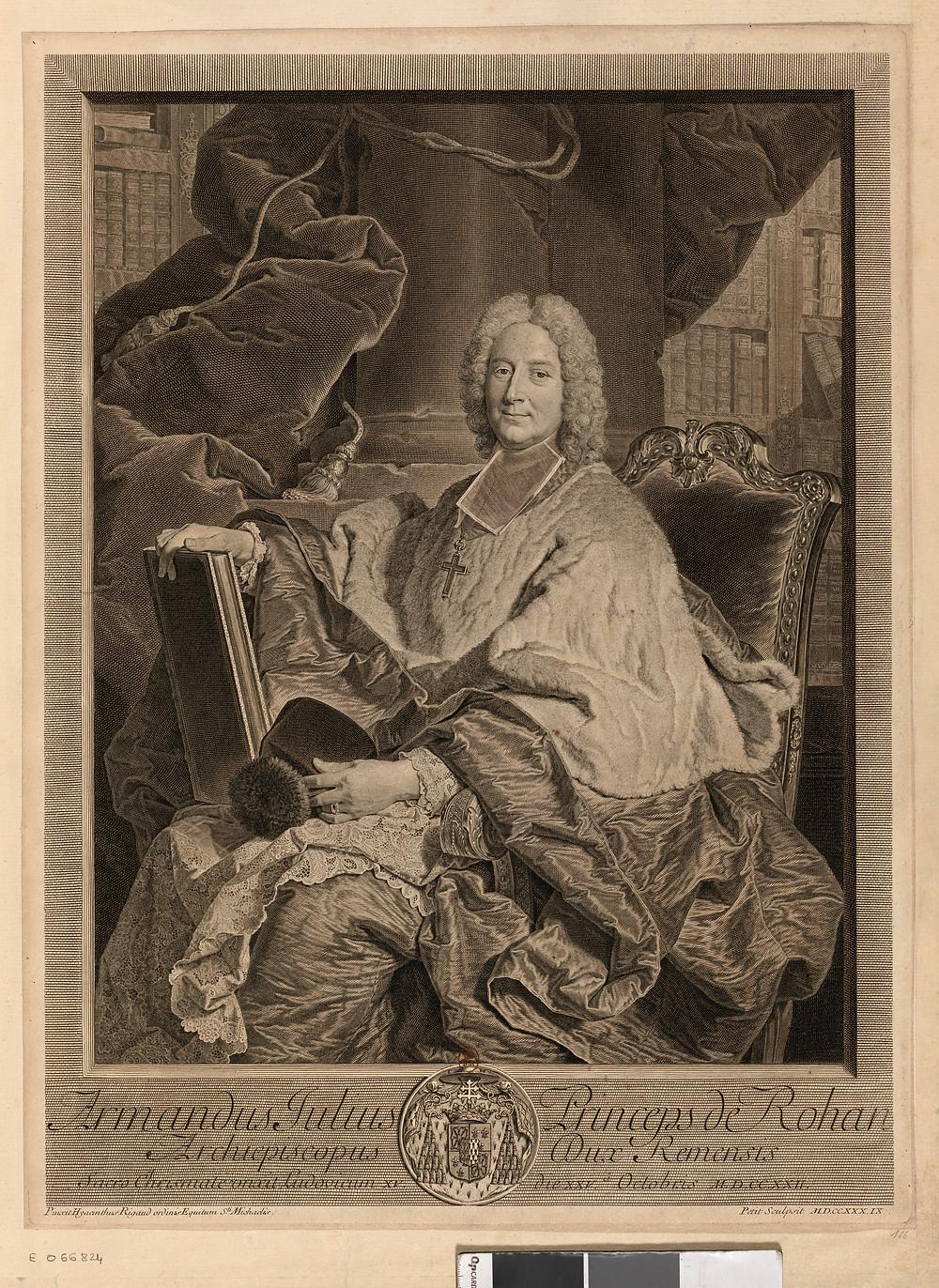 Gilles Edme Petit d'après Hyacinthe Rigaud, Portrait d'Armand Jules de Rohan Guéméné, archevêque de Reims, 1739, Paris, BnF, département des Estampes et de la photographie, Da. 62 fol. 96