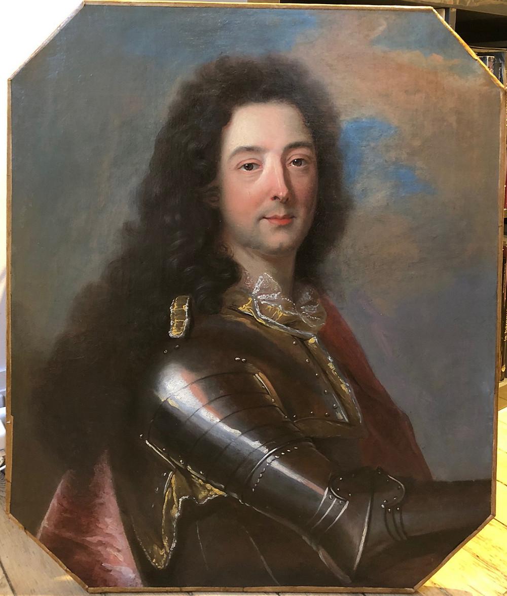 Atelier de Hyacinthe Rigaud, Portrait d'Emmanuel Théodose de La Tour d'Auvergne, duc d'Albret, vers 1705-1708 (?), sans le cadre, Paris, Galerie FC