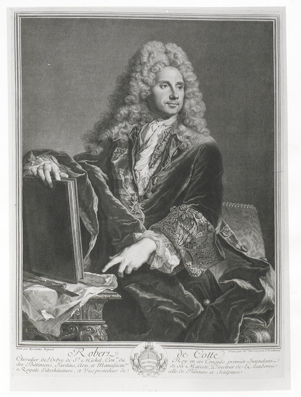 Pierre Drevet d'après Hyacinthe Rigaud, Portrait de Robert de Cotte, 1717-1722, Paris, BnF, département des Estampes et de la photographie, inv. Da. 64 p. 113 [55]