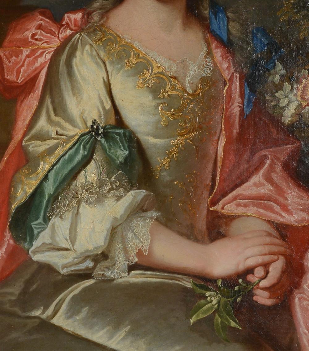 Portrait d'une jeune femme inconnue (détails), vers 1705-1710, collection particulière