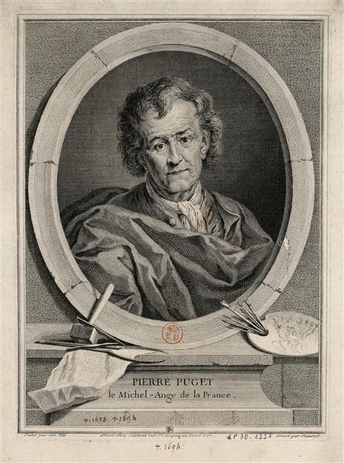 Edme Jeaurat d'après François Puget, Portrait du sculpteur Pierre Puget, Versailles, musée national du Château et des Trianons