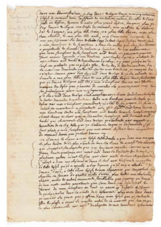Copie manuscrite du testament de Jean de Catelan, évêque de Valence, sans lieu ni date [vers 1720-1725], 8 pages in-fol., collection particulière