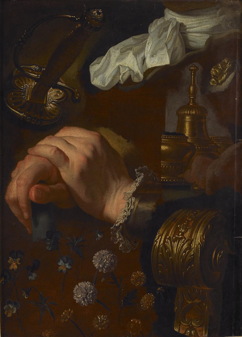 Hyacinthe Rigaud, Etude de mains, d'une cravate, d'un motif de cuirasse, d'objets, d'accotoir et de fleurs, vers 1715-1725, Rouen, musée des Beaux-Arts, inv. 975-4-5521