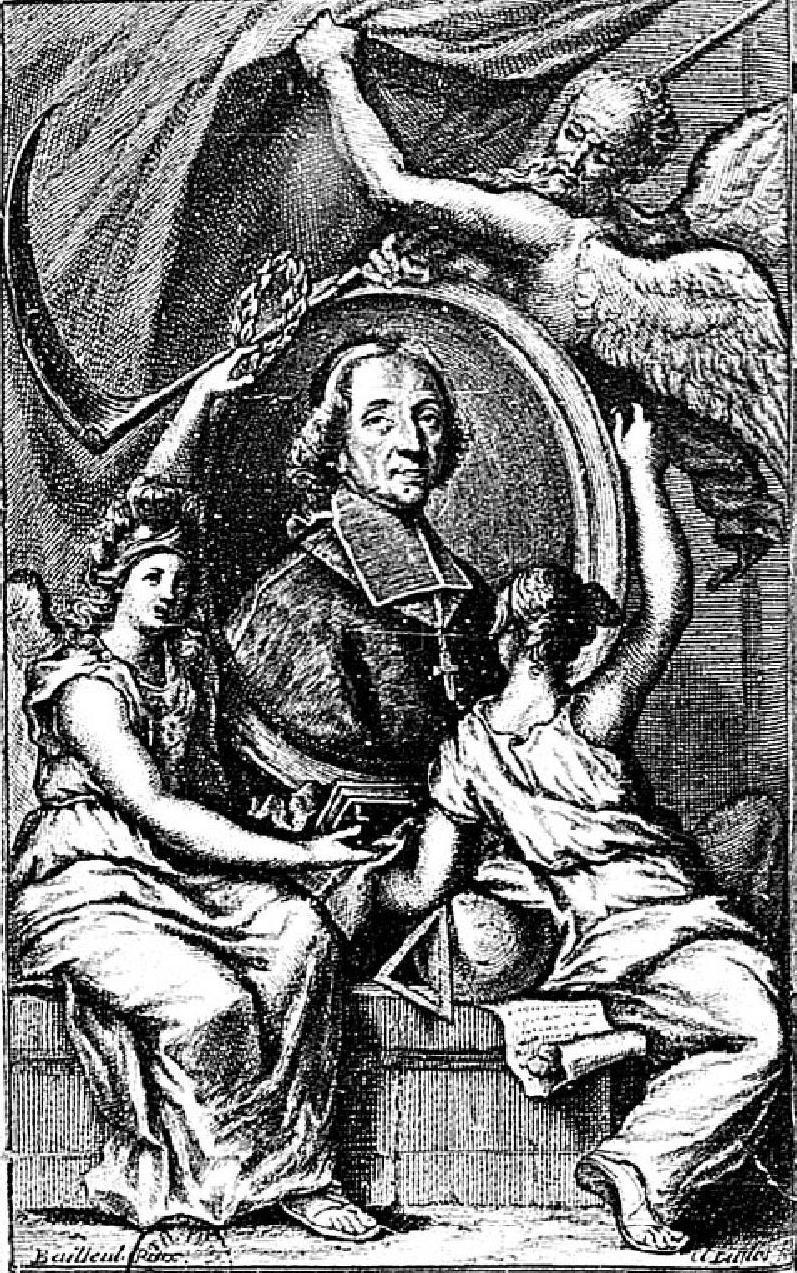 Claude Duflos d'après Bailleul, Portrait allégorique de Fénelon, burin, 1717, frontispice de Les Avantures (sic) de Télémaque, fils d'Ulysse..., tome Ier, à Paris, chez Florentin Delaulne, rue Saint-Jacques, à l'Empereur, 1717, Paris, BnF