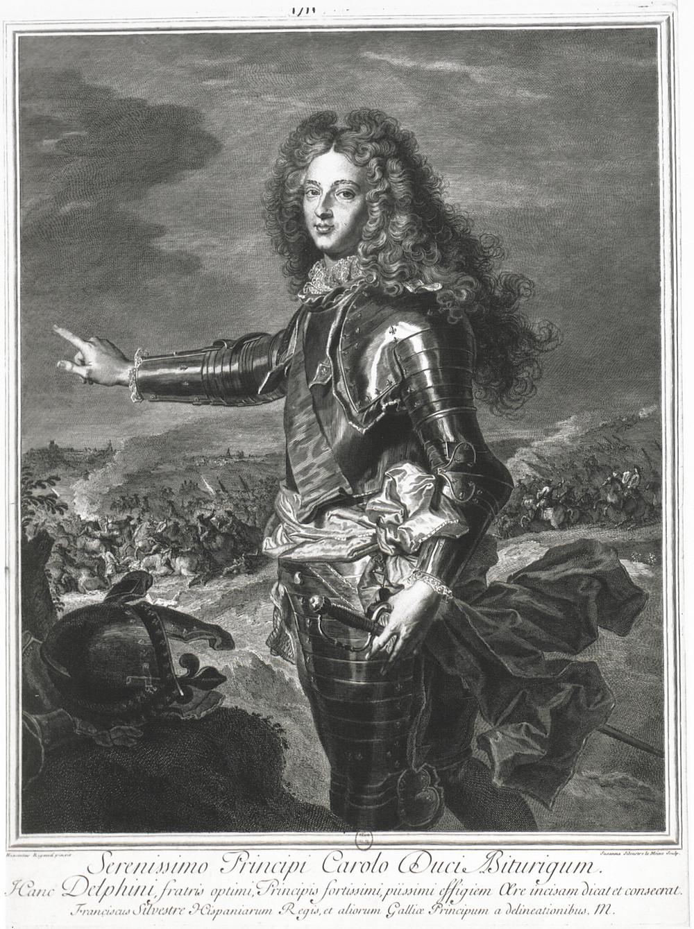 Suzanne Elisabeth Silvestre d'aprèsHyacinthe Rigaud, Portrait du duc de Bourgogne, 1707, Paris, BnF, département des Estampes et de la photographie, Da. 62 fol. 27