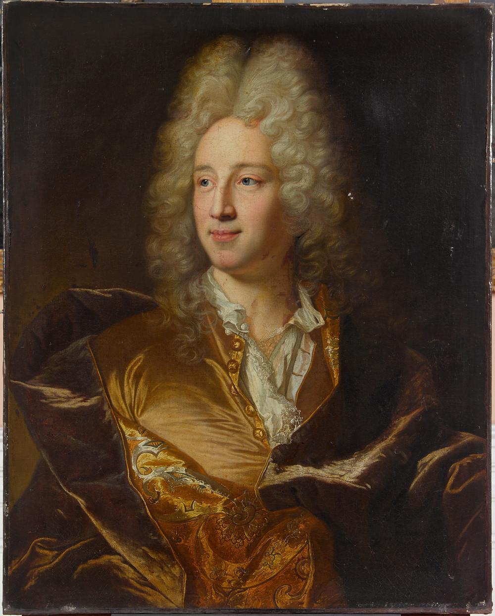 Atelier deHyacinthe Rigaud, Portrait d'un homme, vers1715-1720,Valenciennes, musée des Beaux-Arts, inv. P.46.1.219.