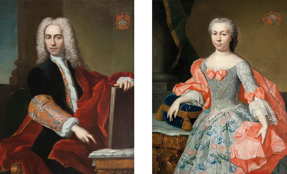 J. B. Monmorency, Portrait d'un homme, 1730 et Portrait d'une femme, 1744, collection particulière