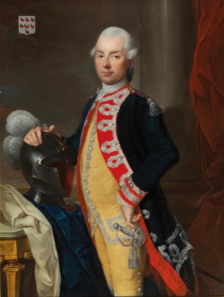 Joachim Rupalley, Portrait du chevalier Michel de Baudre, officier du régiment des Carabiniers du comte de Provence, 1773, Uppingham, Garners Fine Art and Antiques