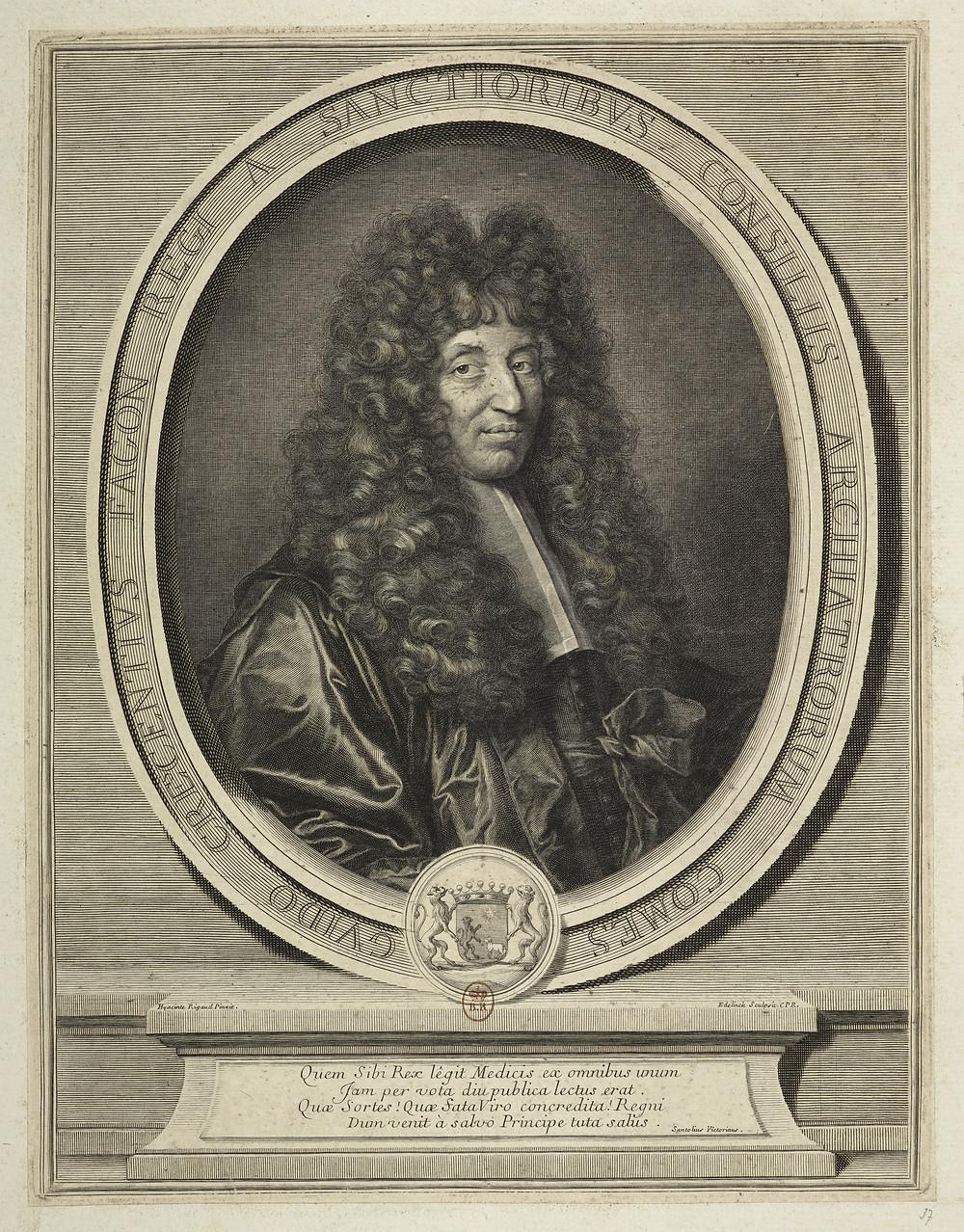 Gérard Edelinck d'après Hyacinthe Rigaud, Portrait de Guy Crescent Fagon, 1695, burin, H. 33,1 x L. 25,3 cm, Paris, BnF, département des Estampes et de la photographie, Da. 64 p. 47 [22]