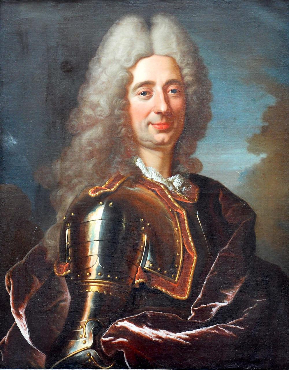 Atelier de Hyacinthe Rigaud, Portrait d'officier supérieurinconnu,vers 1715, collection particulière